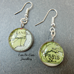 Paris & Dublin upcycled map earrings