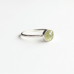 Sterling Silver Peridot Ring - Green Gemstone Stacking Ring - Birthstone August