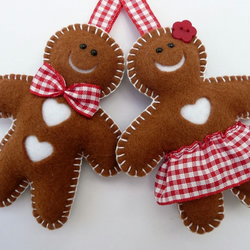 Mr & Mrs Gingerbread Felt Decorations