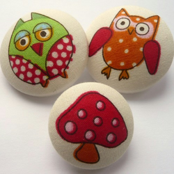 Owl & Toadstool Fabric Covered Buttons