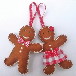 Mr & Mrs Gingerbread Christmas Decorations