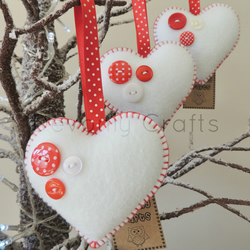 SALE - Buttony Hearts Felt Decorations