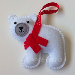 Christmas Polar Bear Felt Hanging Decoration, Ornament
