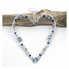 Silver and Blue Crystal Heart, Hanging Decoration