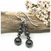 Sterling Silver Earrings with Hematite and Crystals