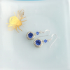 Sapphire Blue Crystal Earrings - Sterling Silver