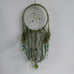 Green Leaf & Heart Jade Olive Dream Catcher