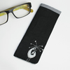 Black linen glasses case with monochrome wool peacock