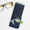 Blue denim glasses case with hand embroidered fish