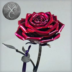Hand Crafted Steel Rose Sculpture Large on Curled Stem
