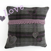 Wool cushion cover in slate grey with hearts