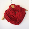 Red Hand Knit Lace Cowl