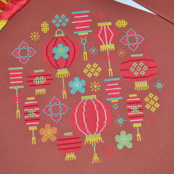 Chinese Lanterns Cross Stitch Kit - Modern Festive Oriental Cross Stitch Kit