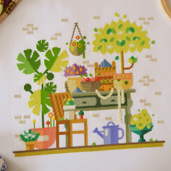 Harvest Garden Cross Stitch Kit - Modern Design - Pretty Gardner's Scene