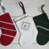 SALE - Set of Three Small Felt Christmas Stockings in Traditional Colours