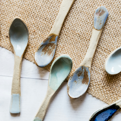 Handmade Ceramic Tea Spoons - Set of Four - Made to Order - Free UK Shipping