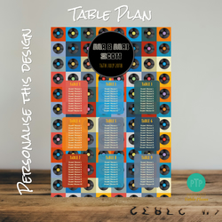 Vinyl Music Themed Wedding Seating Table Plan - A2 Poster