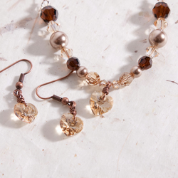 Cappuccino Illusion Necklace & Earrings with Swarovski Crystals, Pearls & Hearts