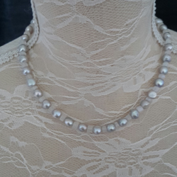 Rainbow Moonstone & Silver Pearl necklace