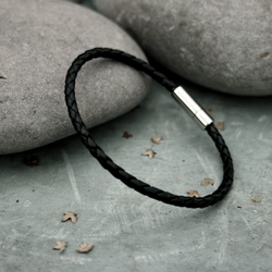 Men's Black Leather Attexo Bracelet