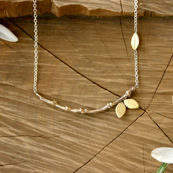 Brass and Silver Tree Branch Neckace