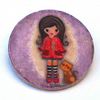 Girl with Red Coat  and Cat Brooch
