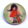 Girl with Orange dress and Cat companion Brooch