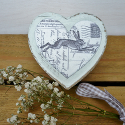 Heart shaped gift box with hare