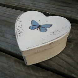 Heart shaped gift box with decoupaged butterfly