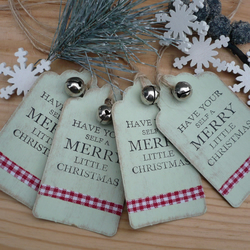Set of 4 handmade christmas gift tags