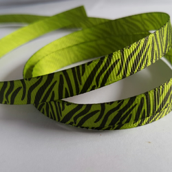 3m Printed Ribbon - Grosgrain - 9mm - Zebra Print - Green
