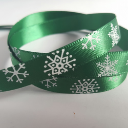 3m Ribbon - Printed Satin - 9mm - Snowflakes - Green