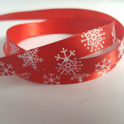 3m Ribbon - Printed Satin - 9mm - Snowflakes - Red