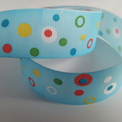 1m Ribbon - Printed Grosgrain - 25mm - Dotty - Blue