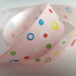 1m Ribbon - Printed Grosgrain - 25mm - Dotty - Pale Pink