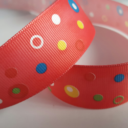 1m Ribbon - Printed Grosgrain - 25mm - Dotty - Red