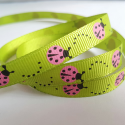 3m Ribbon - Printed Grosgrain - 9mm - Ladybird - Green