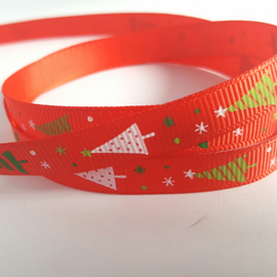 3m Ribbon - Printed Grosgrain - 9mm - Christmas Trees - Red