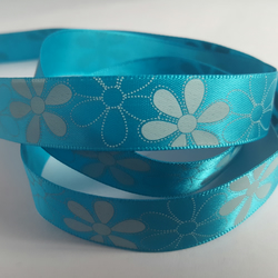 3m Ribbon - Printed Satin - 16mm - Blue - White Flowers