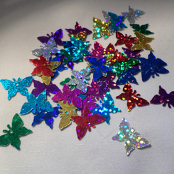 50 x Holographic Craft Sequins - Butterfly - 17mm - Mixed Colour