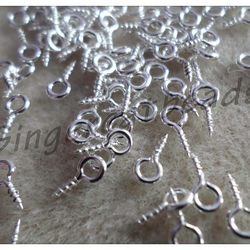100 x Screw Eye Bails - Silver Tone - 8mm x 4mm