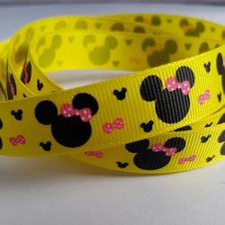 3m Ribbon - Printed Grosgrain - 16mm - Cartoon Mouse - Yellow