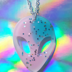 Glitter Resin Alien Necklace - Pink & Blue