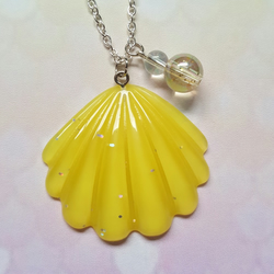 Mermaid Seashell & Bubbles Necklace - Yellow