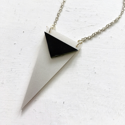 Silver and Black Triangle Necklace
