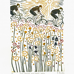 Sun, flowers and cyclists - hand-printed colour lino-print