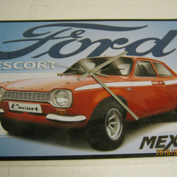 Ford Escort Mexico Metal Enamel Wall Clock