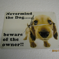 Nevermind The Dog Beware Of The Owner ... Metal Enamel Wall Clock
