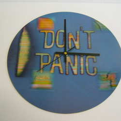 "Hitch-Hikers Guide To The Galaxy - ""Don't Panic"" 12"" Record Sleeve Wall Clock"