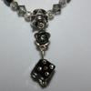 Day of the dead, black and silver coloured skull necklace